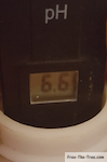 pH meter showing a level of 6.6