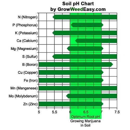Graph bringing forward the levels of pH per element