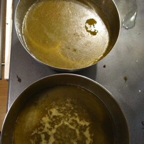 cannabutter mix ready to cool down