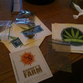 free the tree & barney's farm stickers in the coffee shop