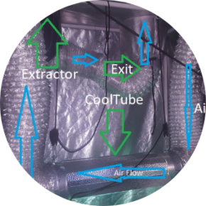 cooltube placed between air filter and air extractor