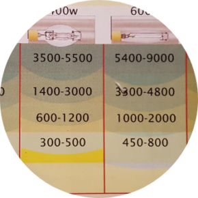 Table showing Lumens levels depending on the distance from the light bulb