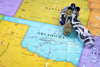 Weed pipe on map of Oklahoma