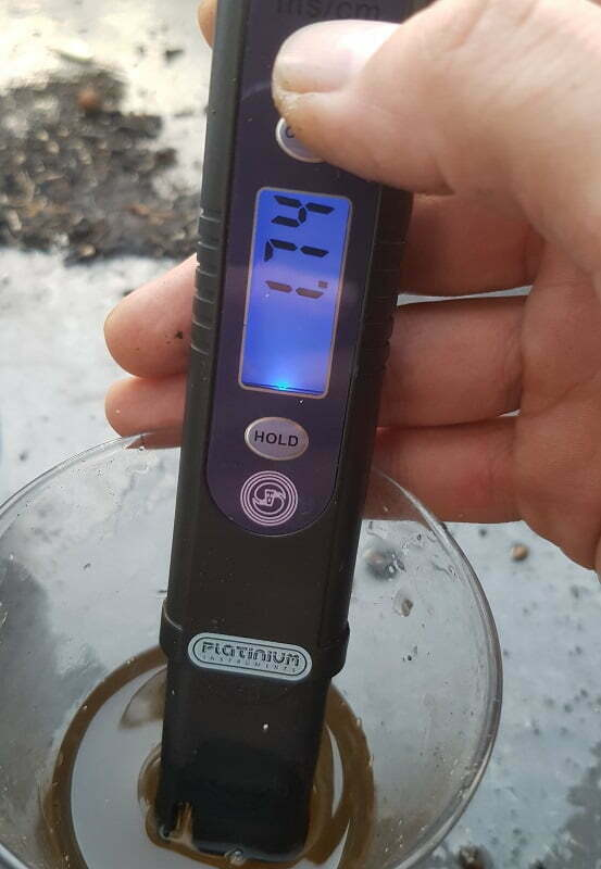EC level at 1.74 after flushing