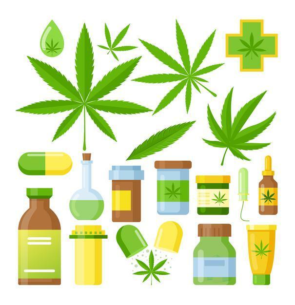 cannabis medicine cartoon with medical marijuana set with hemp oil glass bottle, cannabis extracts etc